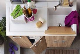 Waschmaschine in Badmöbeln integriert