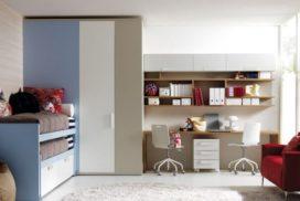 Kinder- und Jugendzimmerin blau/hellbraun