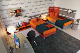 Jugendzimmer-Betten in orange/grau