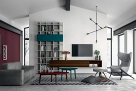 Wohnwand, TV-Möbel und Bücherregal unisono