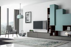 Wohnwand-Objekt türkis, grau, Holz