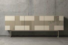 Sideboard, Front Glas lackiert mit Türen