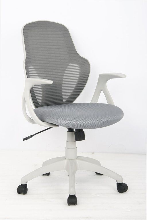 Moderner Bürostuhl, weißes Gestell, grauer Stoff