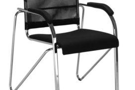 Büro-Besucherstuhl, schwarz/Metall