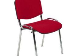 Besucherstuhl Metall/roter Stoffbezug