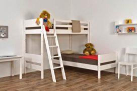 Stockbett in Fichtenholz gebürstet, weiß lackiert