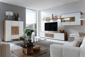 Wohnzimmer, weiss/Kerneiche Umato