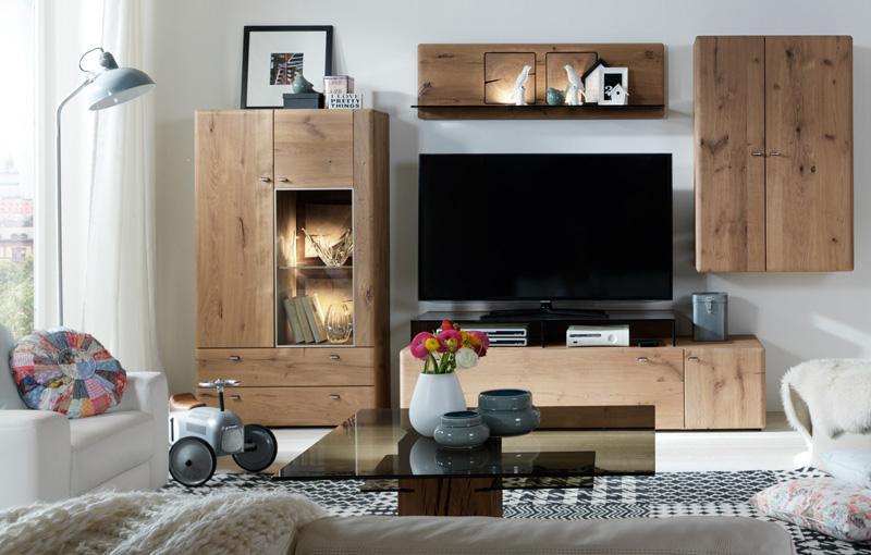 TV-Möbel, Wohnwand in uriger Kerneiche