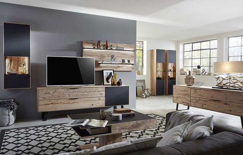 Wohnzimmer in Riffbuche massiv