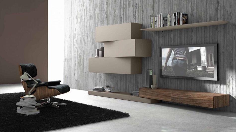 Wohnwand mit asymmetrischen Elementen