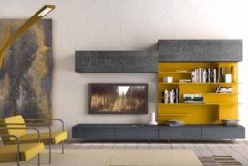 Wohnwand grau / Gelborange