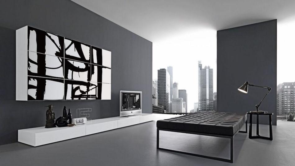 Design-Wohnwand mit schwarz-/weiß-Textur