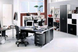 Büro-Klassiker in schwarz, Büroablage-Schränke