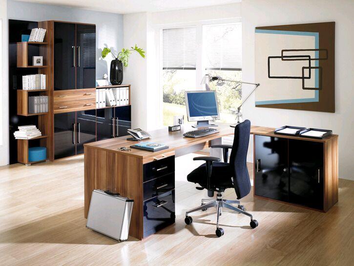 Einzel-Schreibtisch in edlem Holz, Ablageschränke