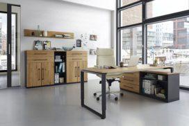 Schreibtisch und Ablageschrank in edlem Holz