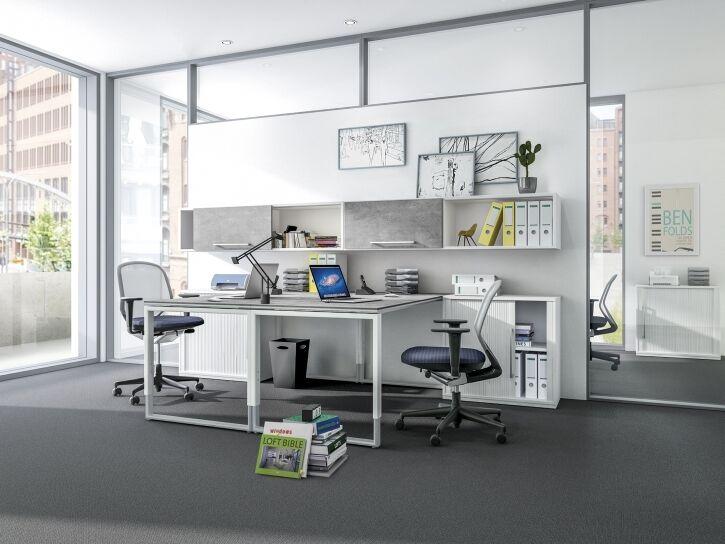 Büro für zwei in Stahl/weiß