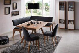 Moderne Eckbank, Lederbezüge, Tisch, 2 Stühle