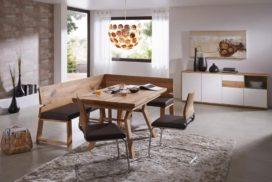 Massive Eckbank, modern, kniefreier Tisch, Stühle