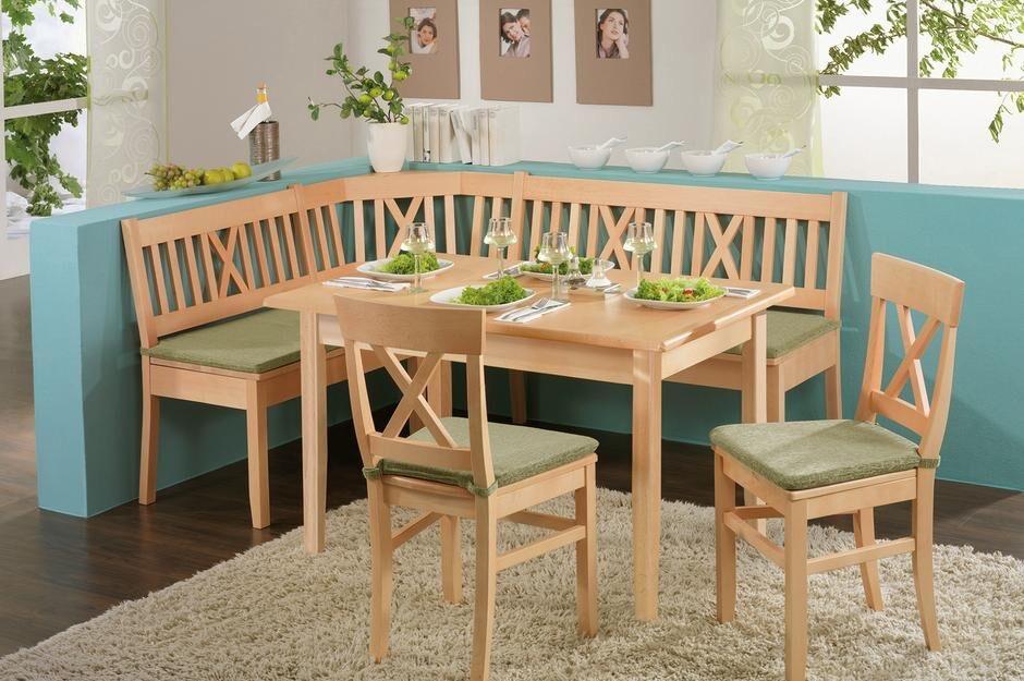 Vollholz-Eckbank mit Tisch und Stühlen