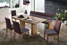 Tischgruppe mit Bank und Stühlen, 2-farbiger Stoffbezug