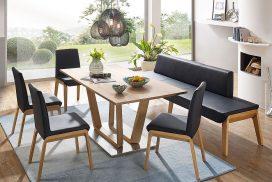 Tischgruppe modern mit Bank und Stühlen