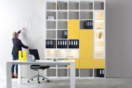Modernes Büro-Ablagesystem in weiß/gelb
