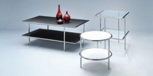 Beistelltische Metall, Glasplatte