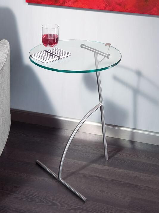 Beistelltischchen Glas oval/Gestell chrom