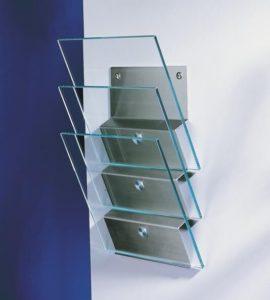 Zeitungs- Prospektständer Wandmontage Glas/Metall