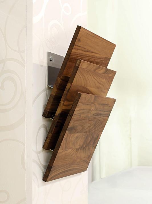 Zeitungs-Wandhalter Holz/Metall