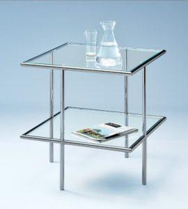 Beistelltischchen quadratisch Glas/Metall