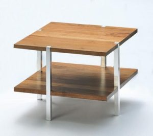 Beistelltischchen rechteckig Holz/Metall