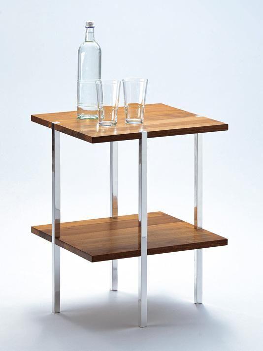 Beistelltisch 2-Fächer, Holz/Metall