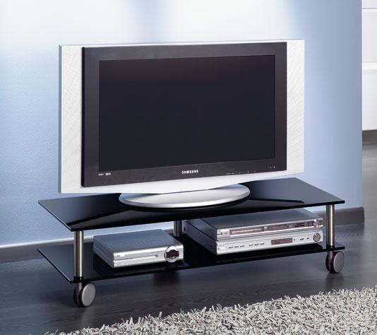 TV-Möbel auf Rädern, schwarz/Metall