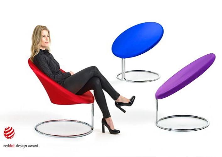 Sessel rund in verschiedenen Farben, Gestell Metall