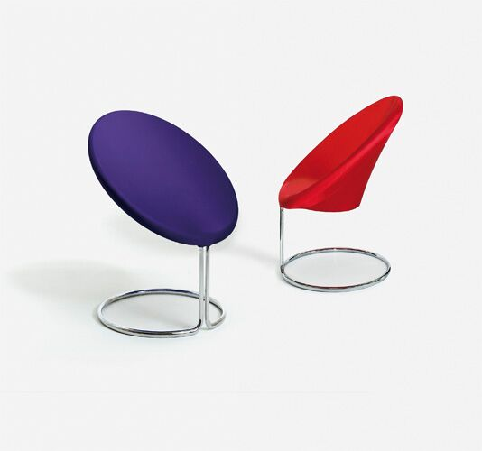 Sessel rund, rot/violett, Gestell in Metall