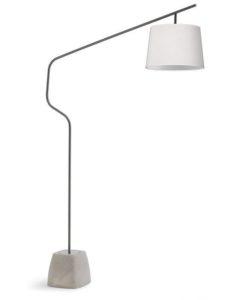 Schwenkarm-Leuchte, Betonsockel, Metall/weißer Schirm