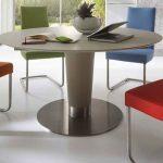 Gepolsterte Stühle in verschiedenen Farben, Rundtisch