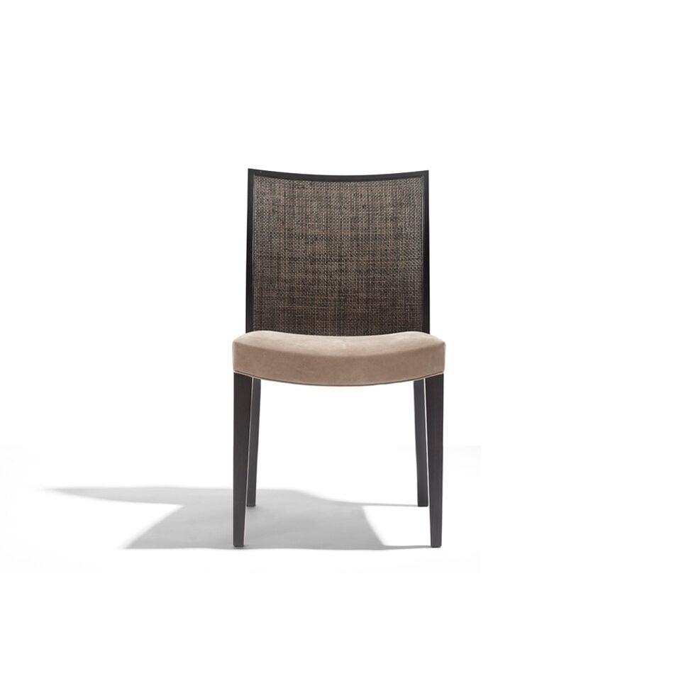 Stuhl dunkelbraun, Sitzpolsterung hellbraun