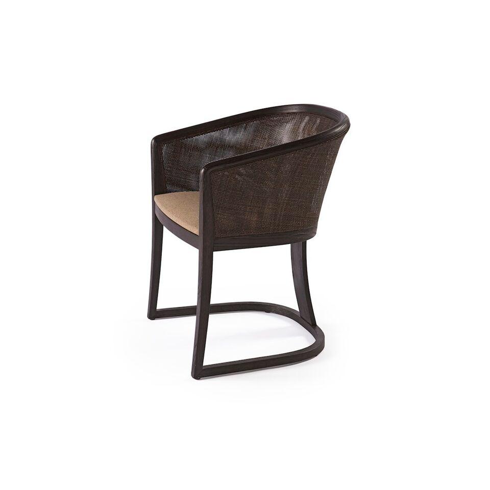 Stuhl mit Rundlehne, Gestell dunkelbraun, Stoff hellbraun