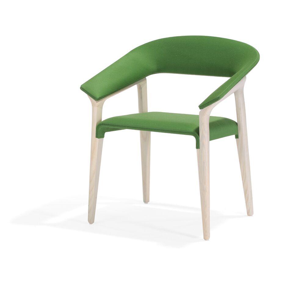 Formschöner Holzstuhl, Polsterung grün