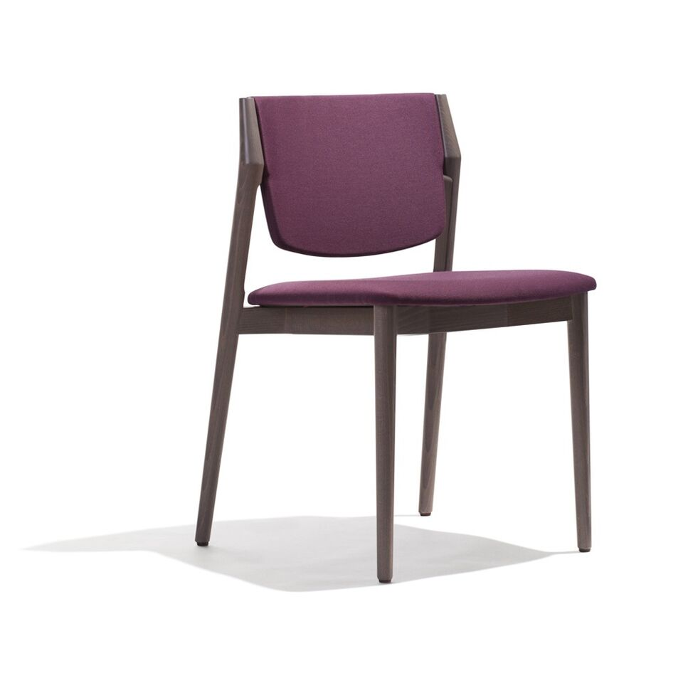 Stuhl aus dunklem Holz, Polsterung violett
