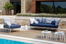 Garten-Sitzgarnitur Bezug blau/Metall weiß