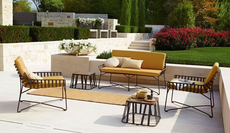 Garten-Polstergarnitur Bezug orange/Metall schwarz