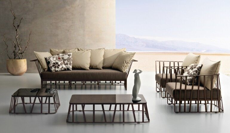 Garten-Polstermöbel Bezug braun/Metall schwarz