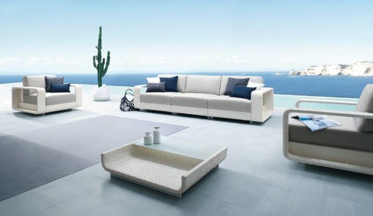 Polstermöbel für den Garten, grau/weiß