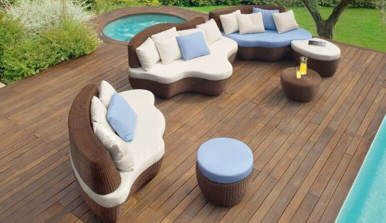 Garten-Sofas, abgerundet, Bezug naturweiß/Rattengestell