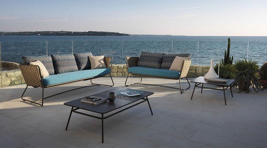 Garten-Sofas, Gestell Flechtwerk, Matall, Bezug hellblau