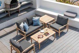 Gartengarnitur Holz/Bezug dunkelgrau