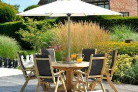 Garten-Sitzgruppe Holz/Bezug dunkelgrau